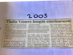 Krantenartikel over Thaliavrouwe in 2003
