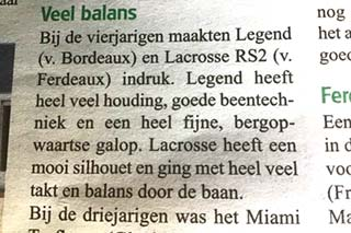 Hengst Legend in paardenkrant